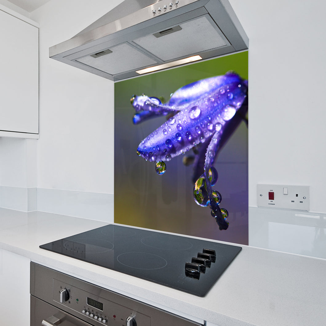 6mm Toughened Printed Kitchen Glass Splashback - Bluebell