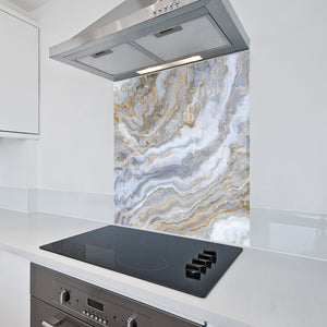 6mm Toughened Printed Kitchen Glass Splashback - Gold Marble