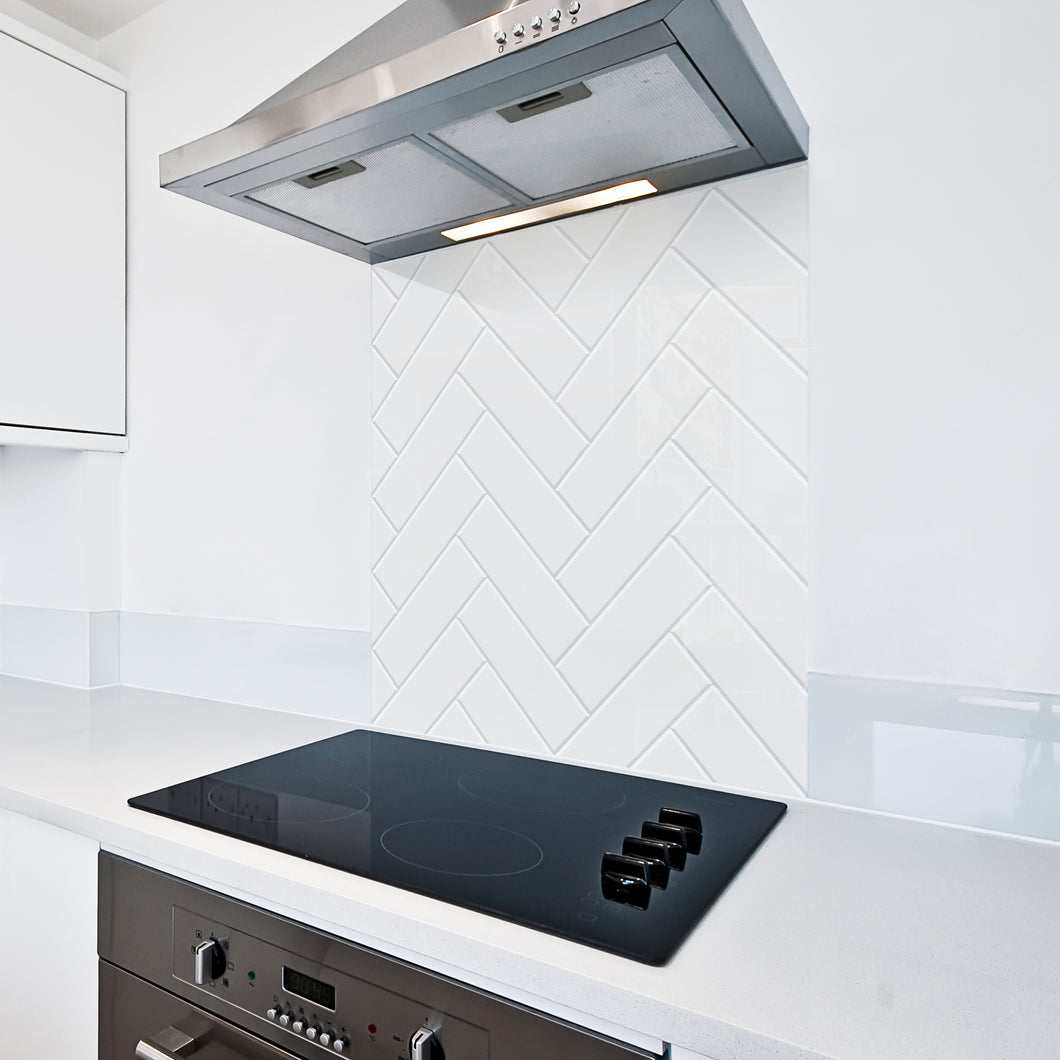 6mm Toughened Printed Kitchen Glass Splashback - White Herringbone