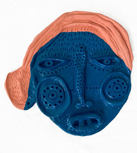 Mask (blue face, orange hair), 2020