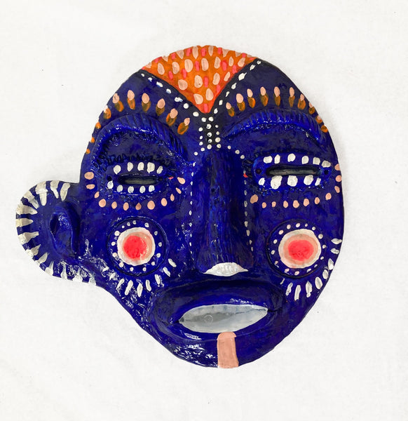 Mask (blue, pink cheeks, orange hair), 2020