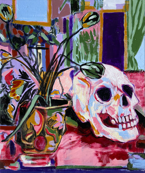 Withered Flowers and A Skull