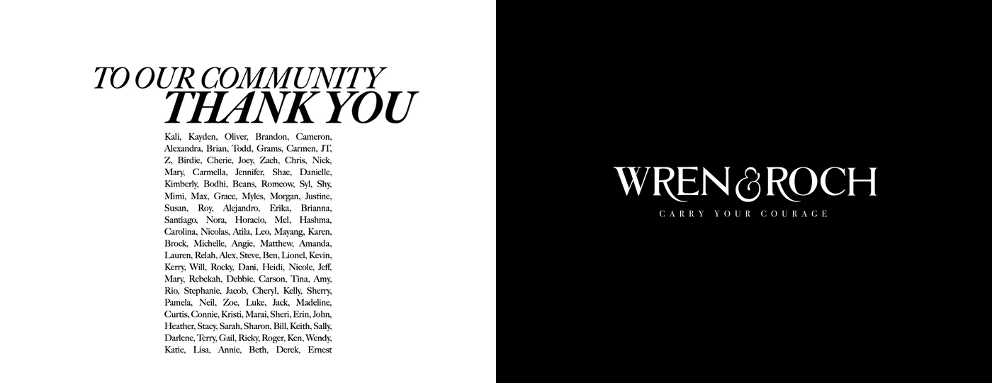 Wren & Roch Spring/Summer '20 Look Book - community thank you