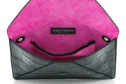 Wren & Roch Love Note Crossbody Clutch - Power interior view standing up with pocket and lining