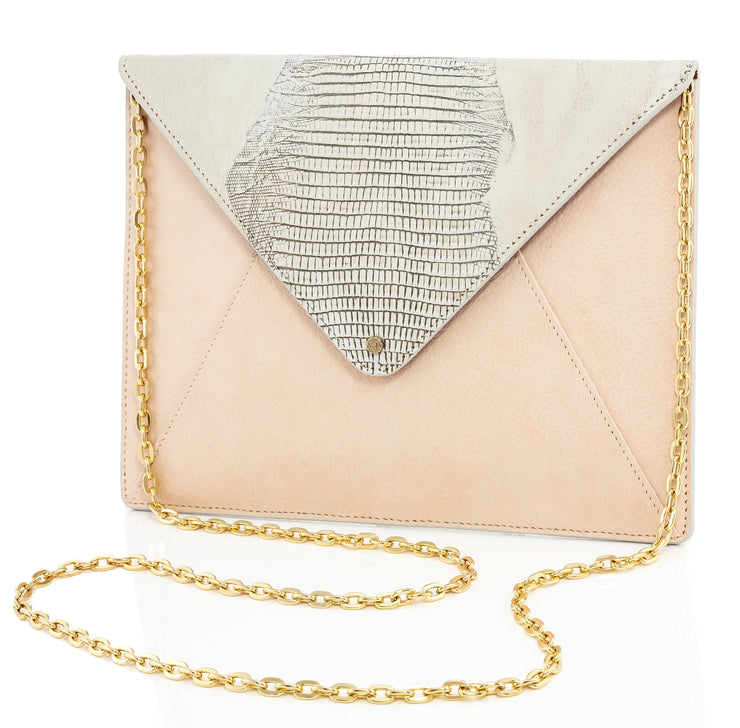 Wren & Roch Love Note Crossbody Clutch - Pristine front view with chain strap