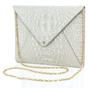 Wren & Roch Love Note Crossbody Clutch - Purity front view with chain strap