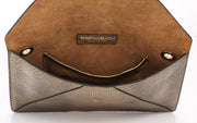 Wren & Roch Love Note Crossbody Clutch - Prize interior view standing up with pocket and lining