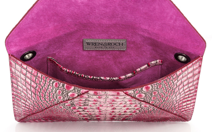 Wren & Roch Love Note Crossbody Clutch - Passion interior view standing up with pocket and lining