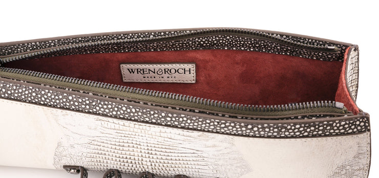 Wren & Roch Street Smart Clutch - Full Moon interior with logo