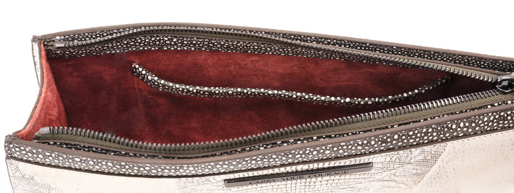 Wren & Roch Street Smart Clutch - Full Moon interior with pocket