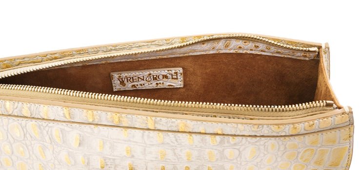 Wren & Roch Street Smart Clutch - Sun Kissed interior with logo