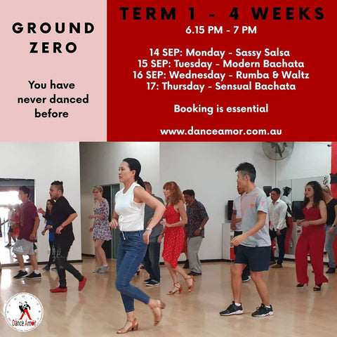 People dancing in a class by themselves having fun. New term timetable