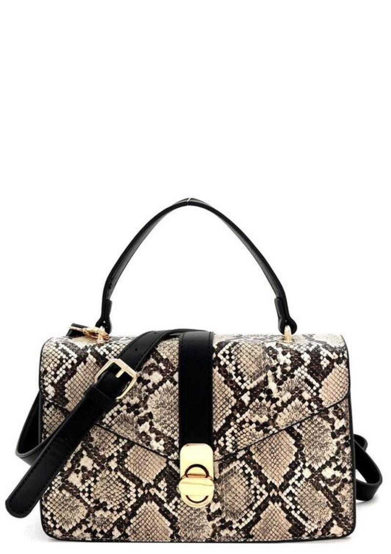 Looking Good Tonight Snake Print Satchel - GlamLusH Boutique