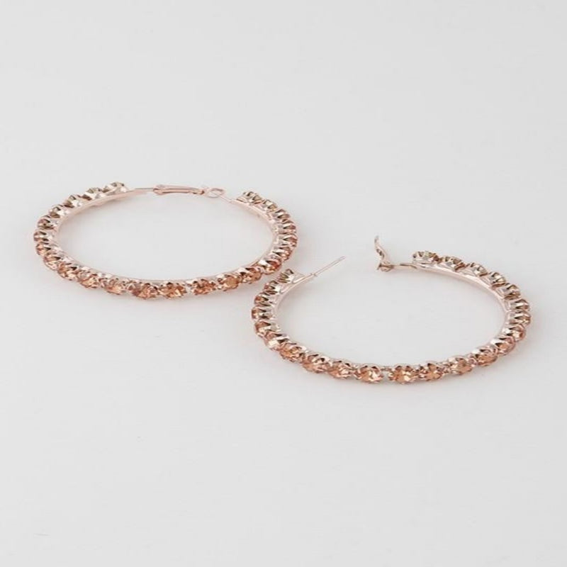 Rhinestone Hoop Earring - GlamLusH Boutique