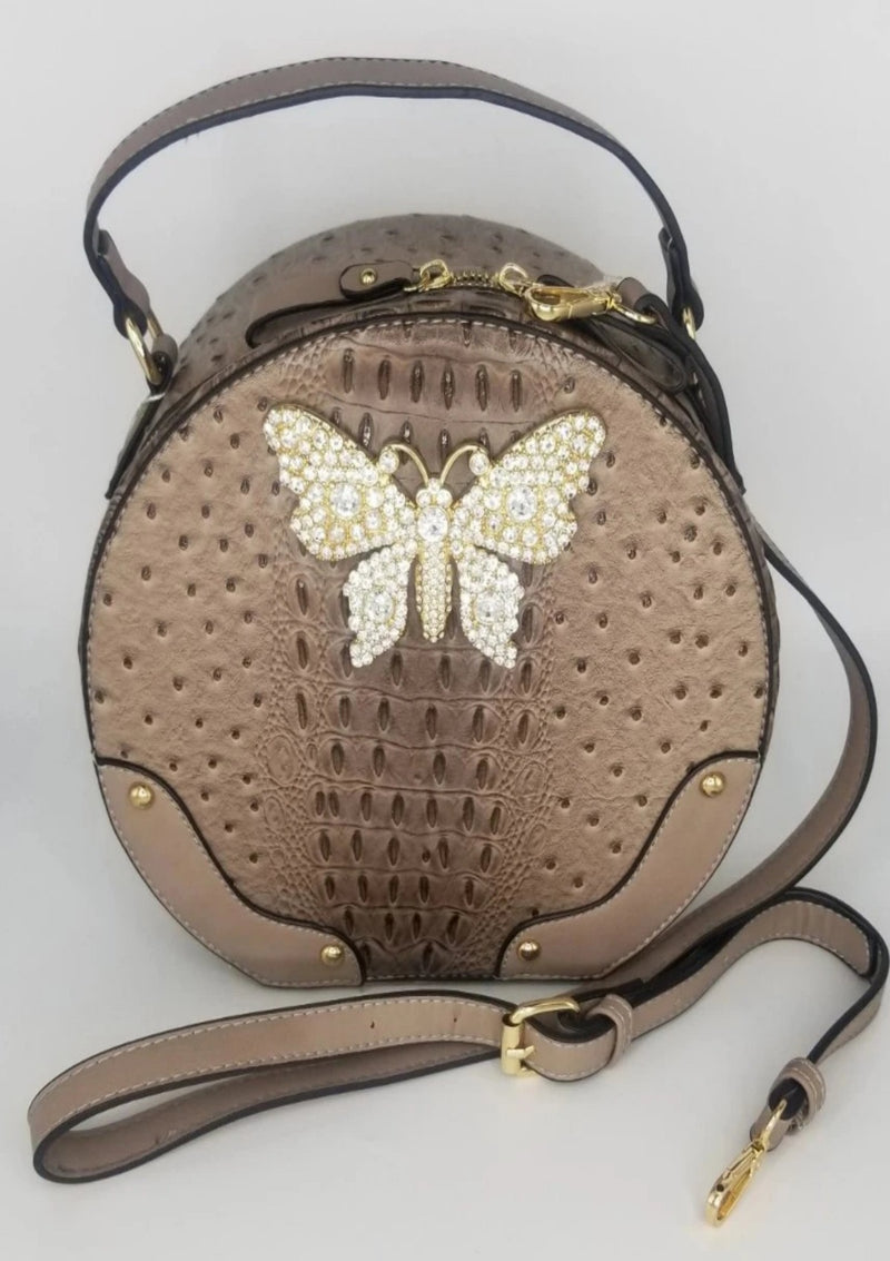 Hot Trendy Rhinestone Bee Circle Satchel - GlamLusH Boutique