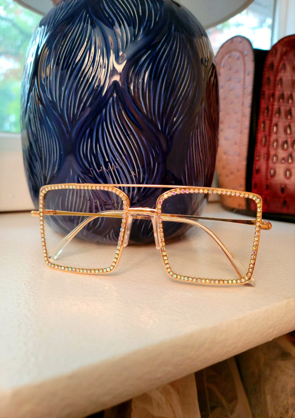 Rhinestone Pave Light Tint Square Glasses - GlamLusH Boutique