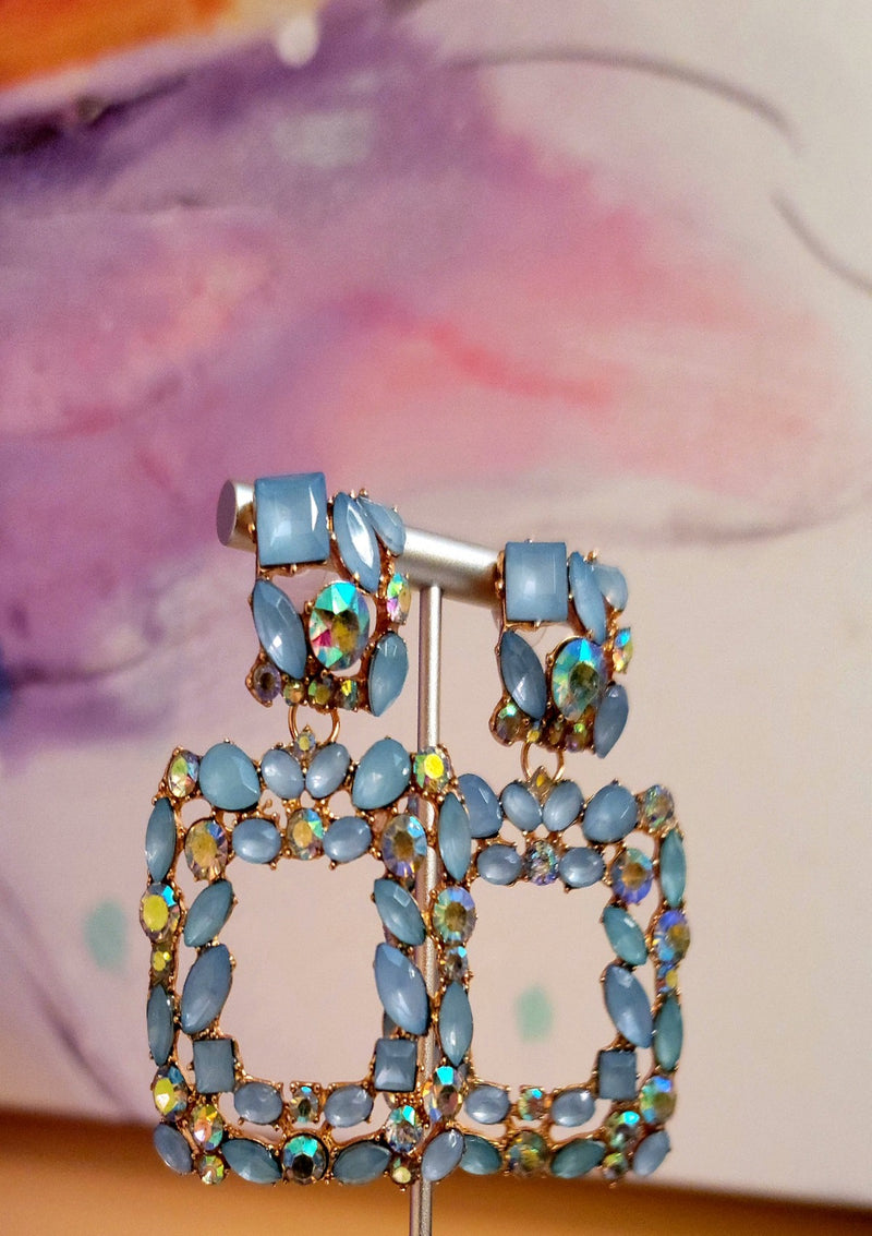 Saphire Rhinestone Earrings - GlamLusH Boutique