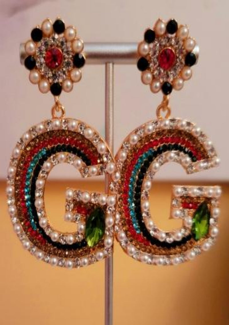 Glam Pearl Rhinestone  Drop Earrings - GlamLusH Boutique