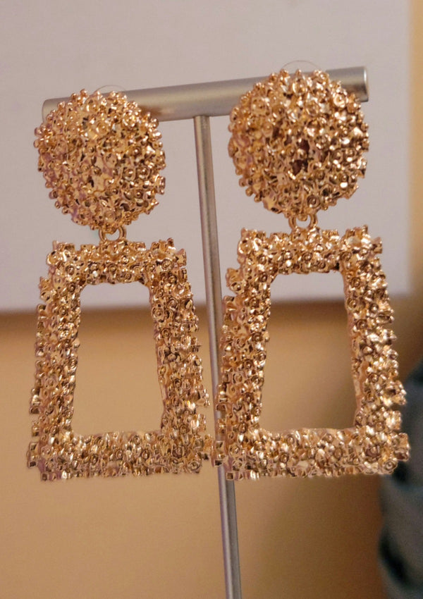 Open Textured Drop Earrings - GlamLusH Boutique