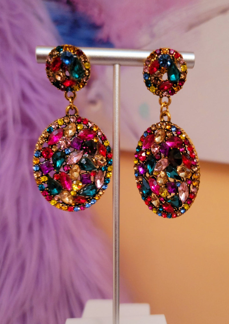 Rhinestones Multi-colored Drop Earrings - GlamLusH Boutique