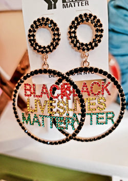 Rhinestones Black Lives Matter Earrings - GlamLusH Boutique
