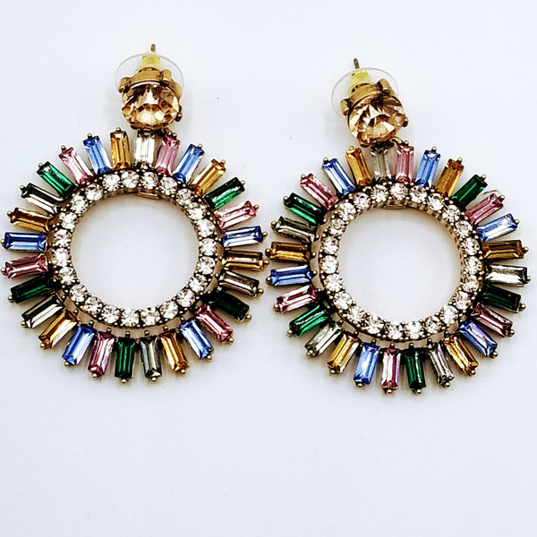 Circle Rhinestone Post Earrings - GlamLusH Boutique