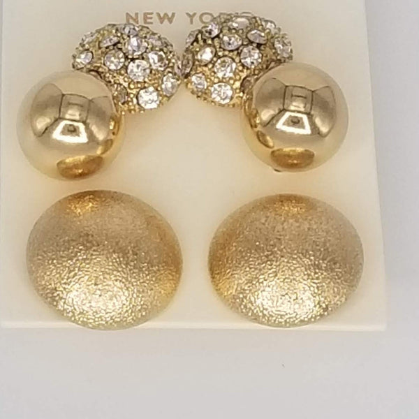 Rhinestone Metal Round Stud Earring Set - GlamLusH Boutique