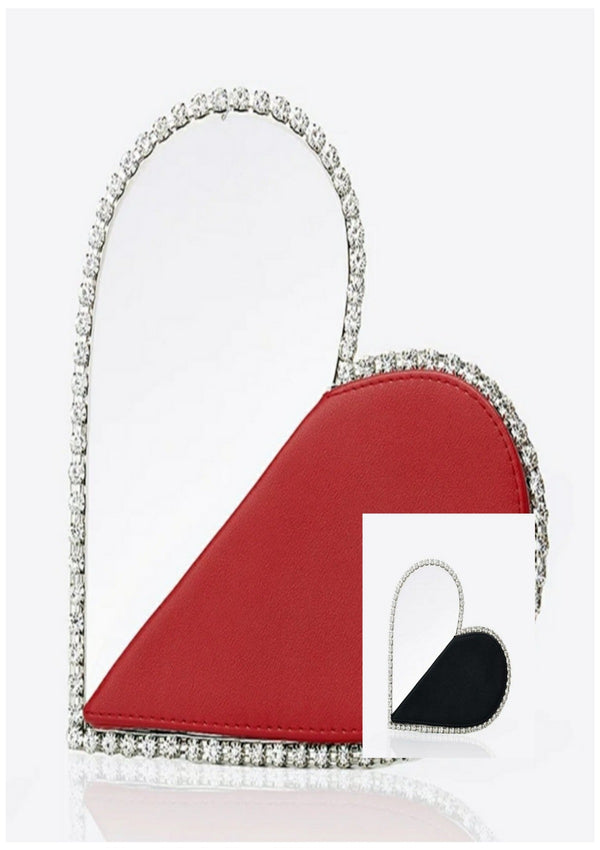 Chic Diamond Red Heart Diamond Clutch - GlamLusH Boutique