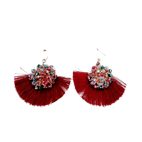 Beaded Cluster Tassel Drop Earrings - GlamLusH Boutique