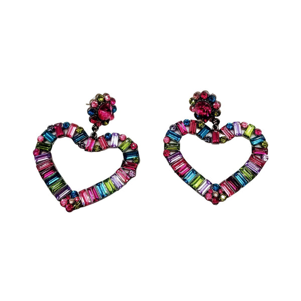 Heart Pearl Rhinestone Earrings - GlamLusH Boutique