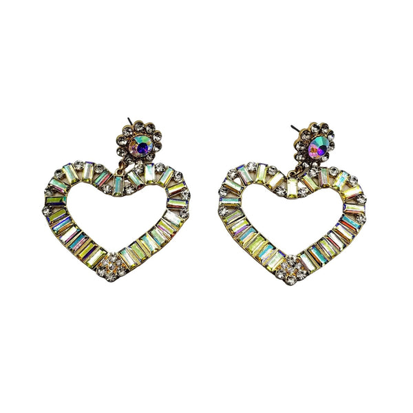 Rhinestone Heart Shape Earrings - GlamLusH Boutique