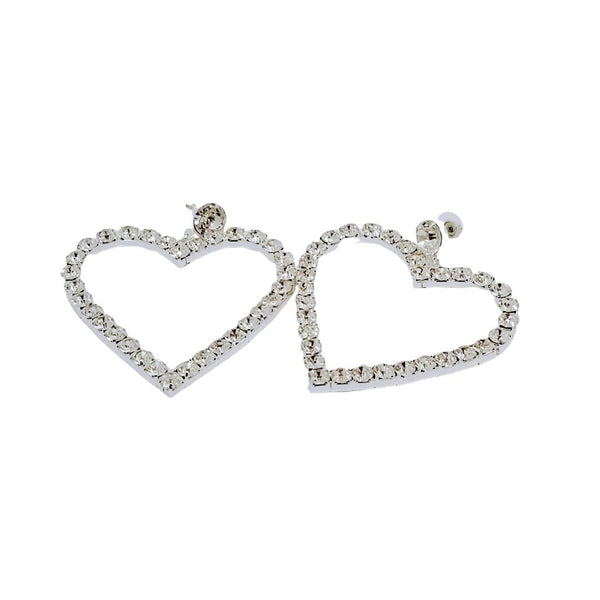 Rhinestone Heart Earrings - GlamLusH Boutique