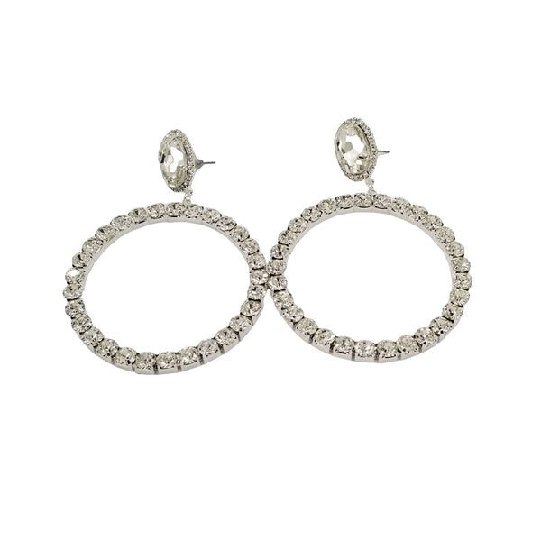 Rhinestone Round Hoop Earrings - GlamLusH Boutique