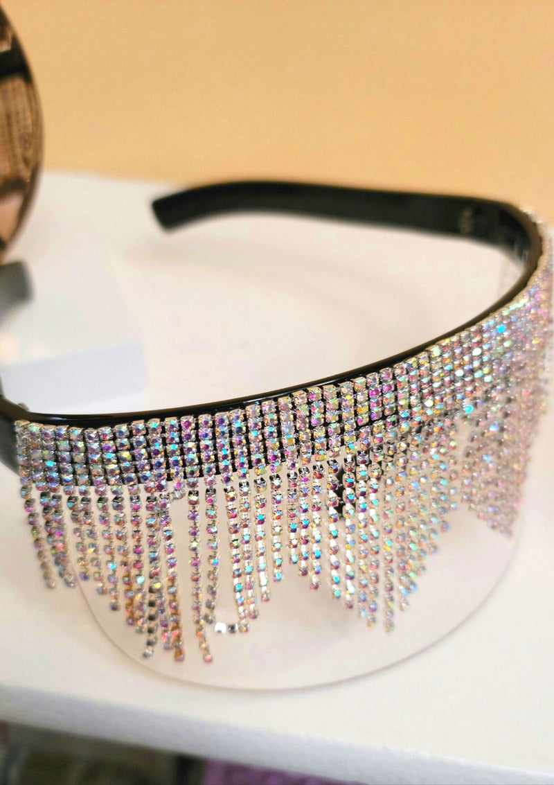 Rhinestone Fashion  Shield Glasses - GlamLusH Boutique