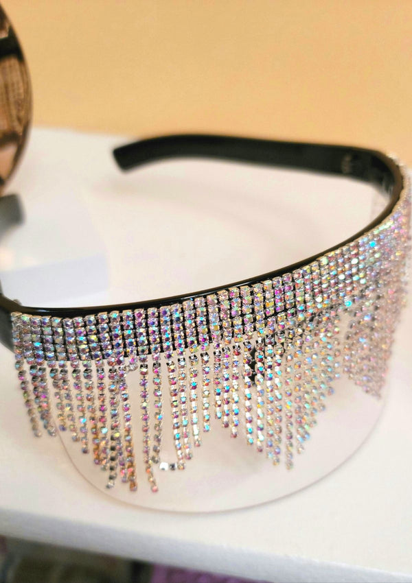 Fashion Rhinestone Shield Glasses - GlamLusH Boutique