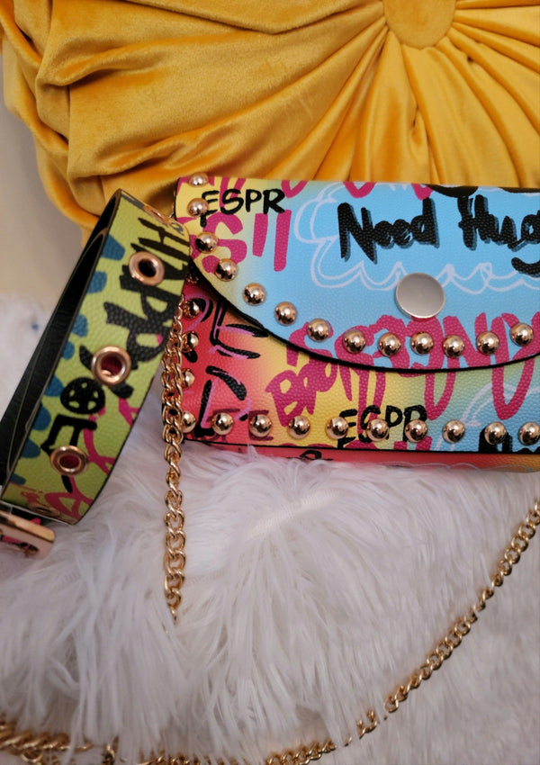 Bright Graffiti Belt W/mini Studded Bag 2-in 1 - GlamLusH Boutique