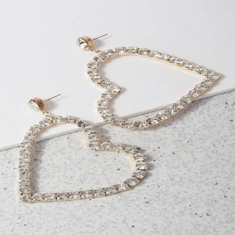 Gold Heart Drop Earrings - GlamLusH Boutique