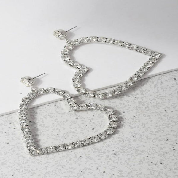 Silver Rhinestone Heart Earrings - GlamLusH Boutique
