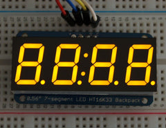 "Adafruit 0.56"" 4-Ziffern 7-Segment Display +I2C Backpack - Gelb"