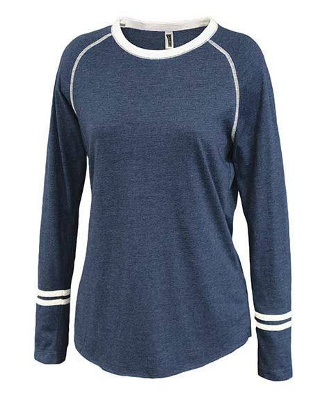Women's Ringer Stripe Crew with embroidery