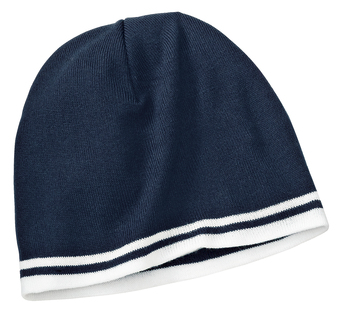 Fine Knit Skull Cap with Stripes with embroidery