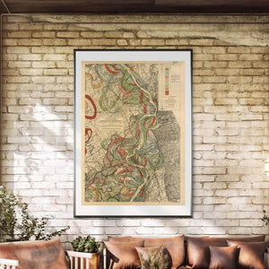 Harold Fisk Mississippi River Map Sheet 5 Framed Hanging In A Sunroom