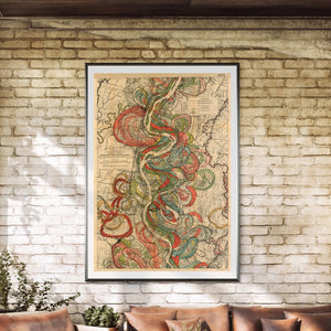Harold Fisk Mississippi River Map Sheet 10 Framed Hanging In A Sun Room