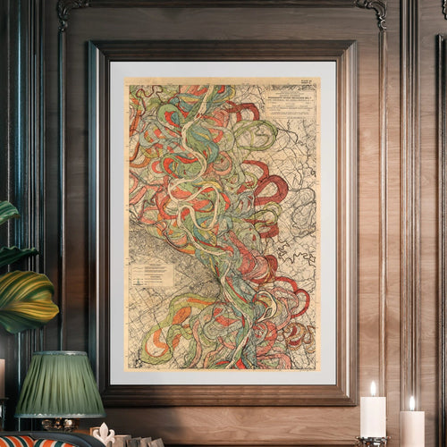 Harold Fisk Mississippi River Map Fine Art Print Sheet 6 Framed & Hung In A Library