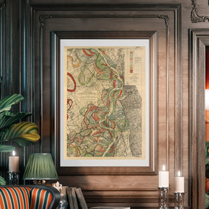 Harold Fisk Mississippi River Map Sheet 5 Framed Hanging In A Library