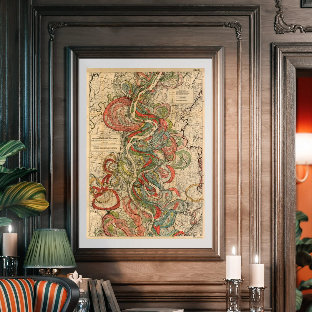 Harold Fisk Mississippi River Map Sheet 10 Framed & Hanging In A Library