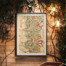 Load image into Gallery viewer, Harold Fisk Mississippi River Map Print Sheet 7 Framed Hanging In A Waiting Area