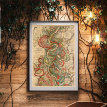 Load image into Gallery viewer, Harold Fisk Mississippi River Map Sheet 10 Framed Hanging In A Waiting Area