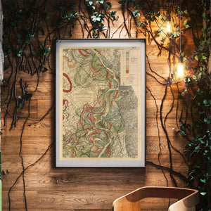 Harold Fisk Mississippi River Map Sheet 5 Framed Hanging In A Waiting Area