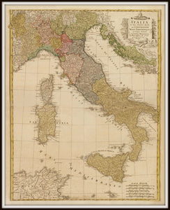 Vintage Italy Map Print From 1790 In A Simple Black Metal Frame